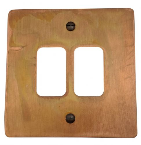 G&H FTC92 Flat Plate Tarnished Copper 2 Gang MK Compatible Grid Plate